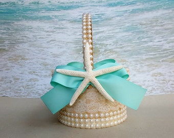Starfish, Lace & Pearl Basket and Pillow - Your choice of Ribbon Color- Beach Wedding Nautical Coastal Rustic Chic