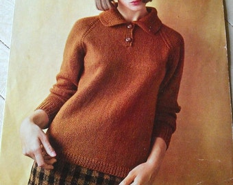 "Vintage 1960s Knitting Pattern- 'Lee Target' - Gorgeous Double Knit Jumper with Collar and Buttons - Bust 32""-42"""