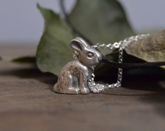 silver rabbit necklace, bunny necklace, rabit charm gift sterling silver animal jewelry, rabbit jewelry, Gift for veterinarians