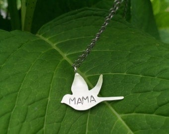 Mama Bird Necklace, Mama Bird Necklace in Sterlig Silver, Birthstone Mama Bird Necklace