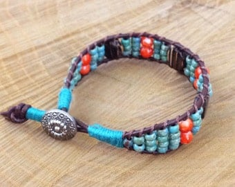 Turquoise & Orange Ladder Bracelet with Natural Wood Elements