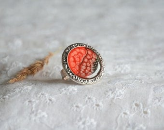 Statement big red gem ring, hand painted gem ring, adjustable size big brass ring, large round gem ring in wooden box, unique ring for her