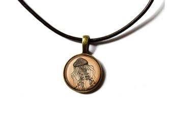 Nautical jewelry Jellyfish necklace Sea pendant NWR459
