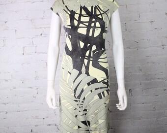 1960s Mr. Dino Dress black white palm print safari tropical floral Condition issues 10