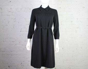 1990s Prada Dress Black peter pan collar with belt minimalist L 40