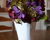 Hydrangea | Hand Blended Hydrangea Stem | Burgundy Hydrangeas | Hydrangea Stems for Vase | Artificial Hydrangea | Faux Red Hydrangea Flowers