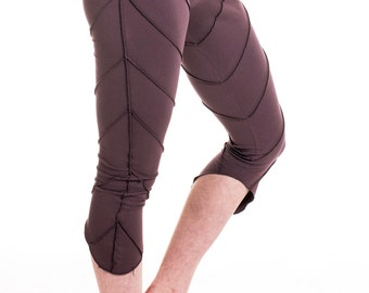 YOGA PIXIE LEGGINGS, plum purple psy trance leggings, festival pixie leggings, leaf leggings, yoga clothing, psytrance boho hippy leggings