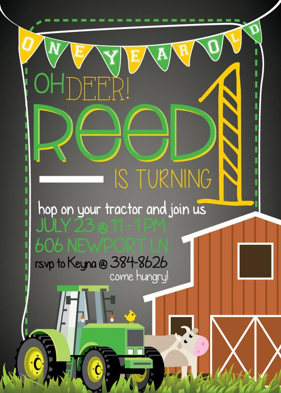 Tractor, Farm,  Farming Tractors little boy Birthday Invitation (DIGITAL COPY)