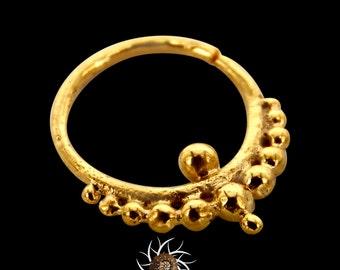 Ball Gold Septum Ring - Septum Jewelry - Septum Piercing - 18G Septum Ring - 16G Septum Ring - Indian Septum Ring - Tribal Septum Ring (G6)