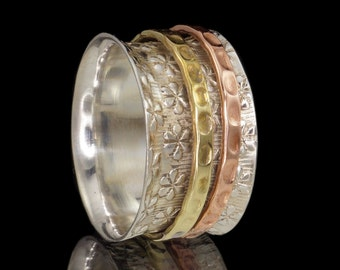 925 Sterling Silver, Brass & Copper Embossed Meditation Spinner Ring - US Size 9 (Aus, UK Size R 1/2)  #B281