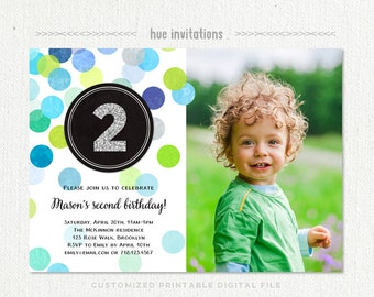 2nd birthday invitation boy, blue green silver glitter second birthday party invitation, second birthday photo invitation, printable file