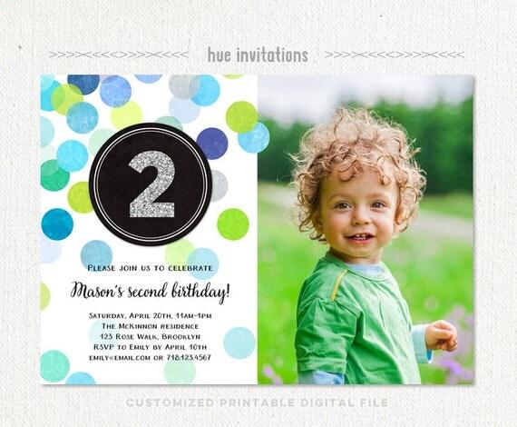 2nd Birthday Invitation Boy Blue Green Silver Glitter Second
