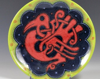 Hand painted ceramic plate // red, blue, green plate // red celtic bird design // ceramic painted plate // decorative plate