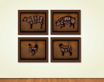 Butcher Cuts Country Rustic Farm Dining Room, Kitchen Themed Wall Decor