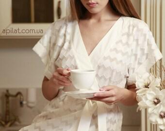 Cotton Kimono Bridal Robe D5(Lingerie), Bridal Lingerie, Wedding Lingerie, Honeymoon, Christmas Gifts, For Her