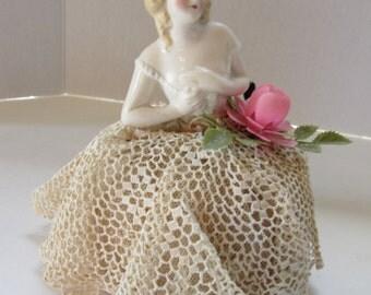 SALE! Porcelain Half Doll Half Doll Pincushion Crochet Pincushion Lace Pincushion Vintage Vanity Item Vintage Sewing Item
