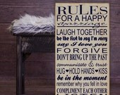 """Rules For a Happy Marriage Wall Decor Subway Art Vinyl Wooden Sign 12"""" x 24"""" by HD Vinyl Designs. Bridal shower, wedding gift,newlywed gift"""