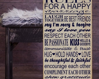 "Rules For a Happy Marriage Wall Decor Subway Art Vinyl Wooden Sign 12"" x 24"" by HD Vinyl Designs. Bridal shower, wedding gift,newlywed gift"