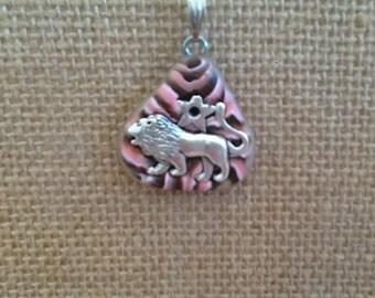Handmade Clay and Silver Leo Horoscope Pendant