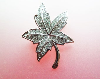 Signed Ciro Silver Tone and Clear Rhinestone Vintage Maple Leaf Brooch