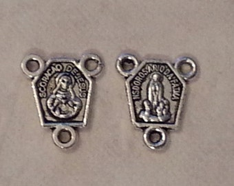 Charms Antique Silver Virgin Mary, Madonna Charms/Connectors - 10 pieces -13x11mm