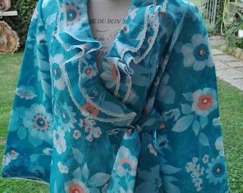VINTAGE 70s hippie Hollywood robe Dressing gown blue ruffle wedding bride wedding lux woman