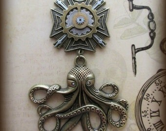 "Steampunk ""Krakken Hunter"" Silver and Copper Clockwork Chest Medal Pin"