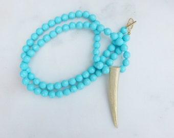 Faceted Turquoise and Gold Antler Necklace / Turquoise Necklace / Antler Necklace / Long Necklace / Layering Necklace