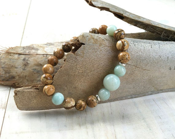 Jasper Beaded Bracelet, Gemstone Healing Jewelry, Natural Stone Bracelet, Amazonite Bracelet, Matching Mala Bead Bracelet, Yoga Beads