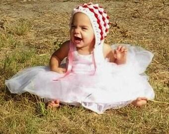 Popcorn bonnet with ribbon, handmade crochet, classic bonnet, baby bonnet, toddler hat, baby hat, crochet baby bonnet, photo prop, childrens