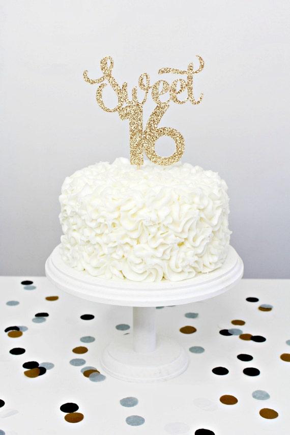 Glitter Sweet 16 Cake Topper Handmade Cake Topper Gold