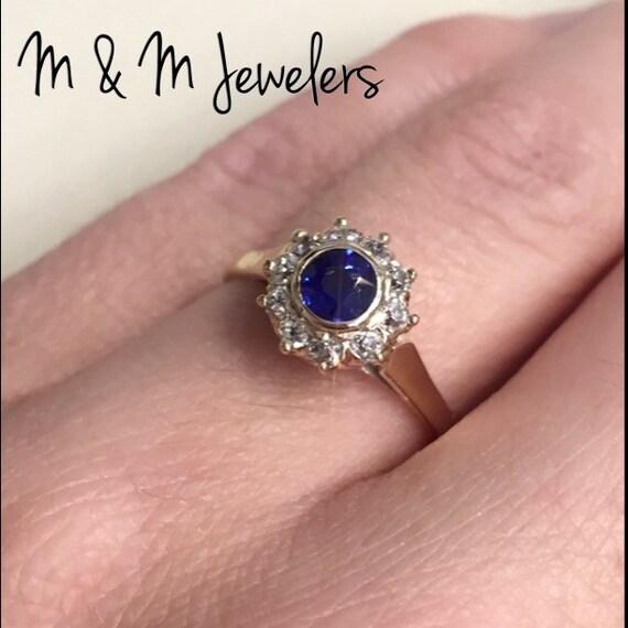 14K Yellow Gold Antique Ceylon Sapphire and Diamond Halo Ring