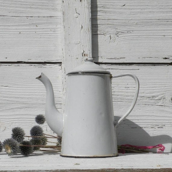 French vintage enamel cafetiere, vintage white enamelware, vintage coffeepot, French coffeepot, country home, cottage, French farmhouse