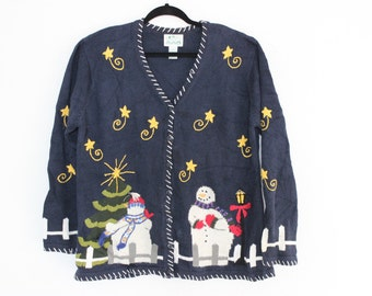 Ugly Christmas Sweater with Snowmen! XL 647