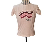 "Vintage Avon Tee Shirt Short Sleeve Cotton T Tee Shirt Size S, 1980's Advertising Avon ""Cover Up America!"", Gift for Her"