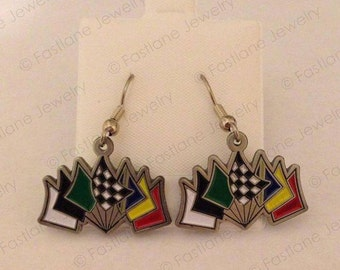Seven Flags of Racing Earrings (Silver-Toned)- Racing Jewelry by Fastlane Jewelry