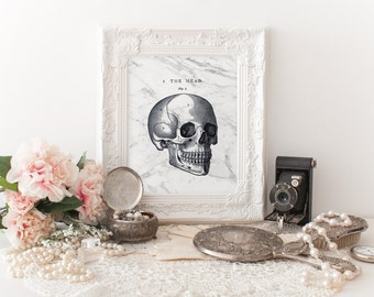 SKULL, Marble print, Marble download, Instant Download, 8x10 11x14, lithography, gothic, macabre, Printable marble, watercolor, white marble