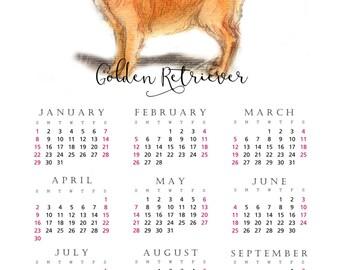 Golden Retriever 2017 yearly calendar