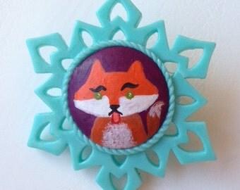 Hand painted Fox Brooch pin ooak