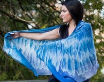 Blue Violet Wing Scarf Hand Painted then Digitally Printed on 100% Modal Silk -Angel