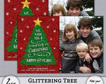 Holiday Greeting Photo Card - Glitter Christmas Tree - PSD PhotoShop Template - 4x6 5x7 - Instant Download