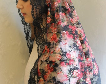 Evintage Veils~ Our Lady Raining Roses Lace Chapel Veil Mantilla Latin Mass LONG Veil