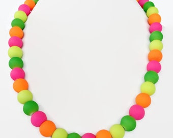 Neon Multi Color Pearl Necklace - Summer Time Jewelry - Trendy Summer Jewelry - Neon Jewelry - Neon color Necklace - Neon Necklace - Neon