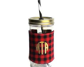 Red Plaid Mason Jar Tumbler, Monogram Mason Jar Cup, Gifts for Her, Unique Gifts, Gifts Under 25, Monogram Gifts, Personalized Gifts