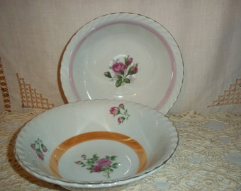 Vintage Set of 2 Pink Rose Bowls Pink Orange Borders Shabby Cottage Chic Serving & Dining Soup Bowls Collectibles