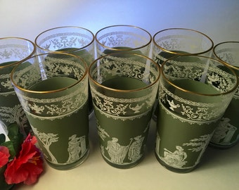 Eight vintage Jeannette Green Hellenic Grecian tall glasses