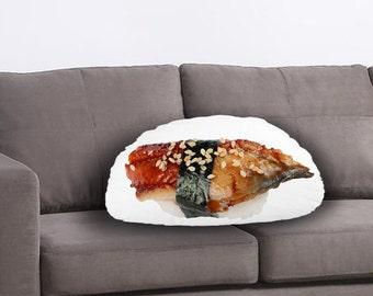 Sushi Printed Pillow - Sushi Lover Gift, Sushi Print, Nigiri print, Linen Cushion, Food Home Decor