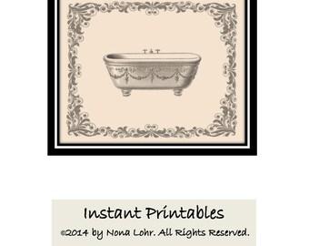 Vintage Bathroom Wall Decor Tan Sepia Gray Art Print  INSTANT DOWNLOAD Digital Bathtub