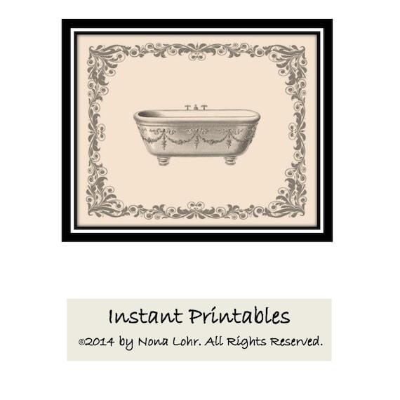 SALE Vintage Bathroom Wall Decor Tan Sepia Gray Art Print