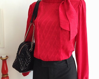 Vintage 80s red Blouse Long sleeves with Scarf Collar. Secretary Blouse. Size 44